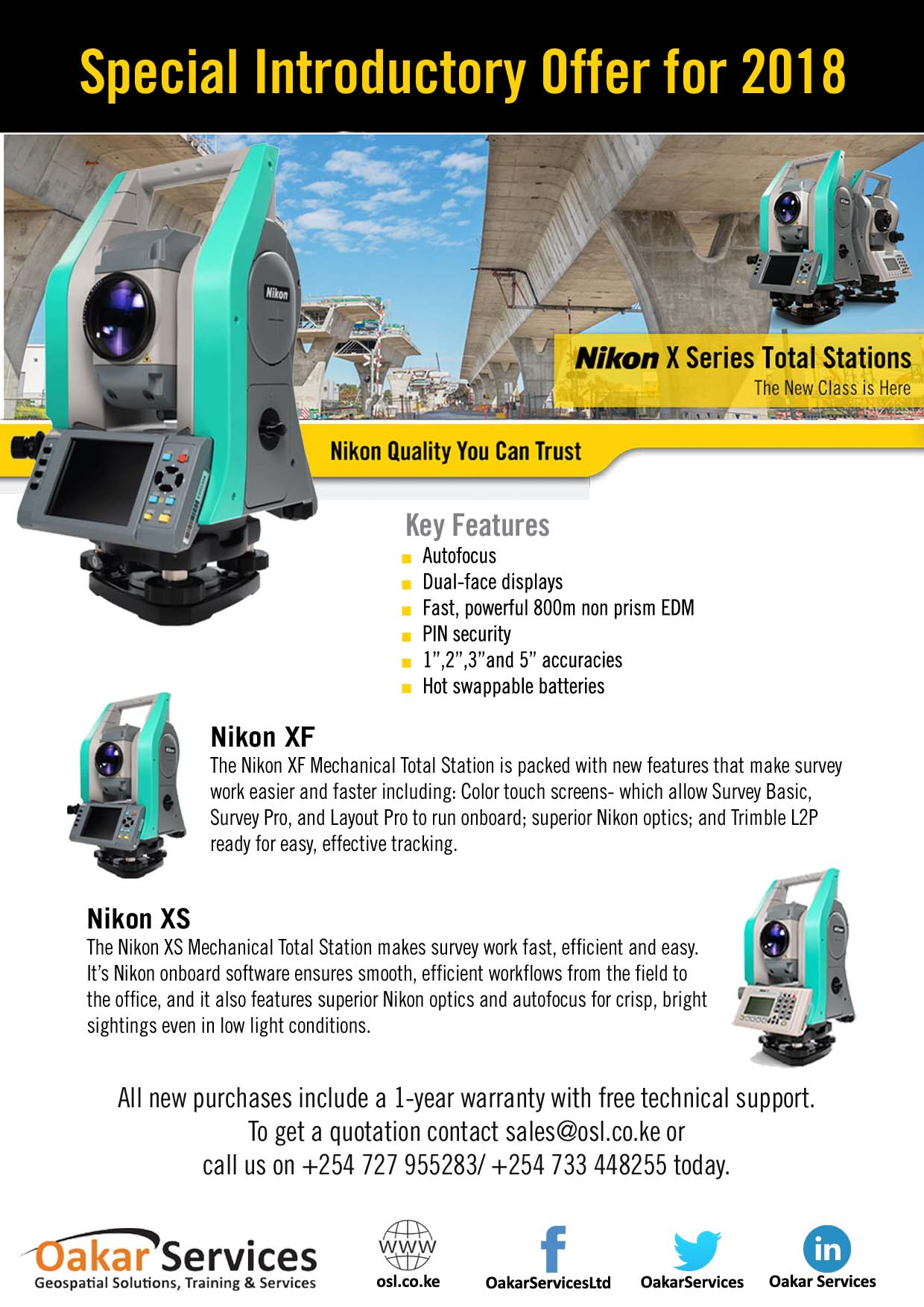 Nikon X Series Total Stations Special Introductory Offer - Oakar